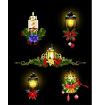 christmas decoration with street light cpllection vector image vector image