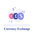 currency exchange color chips with currency signs vector image