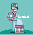 dentist boy cartoon holding tooth and planning vector image