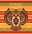 ethnic background with owl vector image