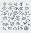 eye icons outline eyelashes and eyes symbols vector image vector image