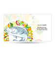 fish meal with vegetables business card vector image vector image