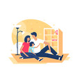 flat happy family with father mother and daughter vector image vector image