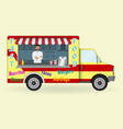 food truck with a cook inside fast-food sailing vector image vector image