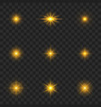 gold light effect starburst with sparkles vector image