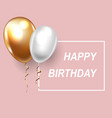 golden and white balloon for birthday on pink vector image vector image