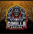 gorilla gaming esport mascot logo vector image vector image