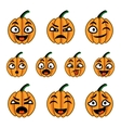 Halloween cute cartoon pumpkins icon set vector image