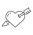 heart pierced with arrow thin line icon love vector image