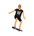 hipster man on skateboard vector image