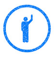 hitchhike person rounded grainy icon vector image vector image