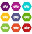 hops icon set color hexahedron vector image vector image