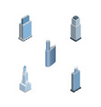 isometric skyscraper set of tower business center vector image vector image