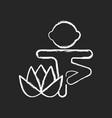 kids yoga chalk white icon on dark background vector image