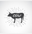 lettering within silhouette of cow on white vector image vector image