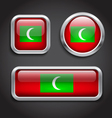 Maldives flag glass buttons vector image vector image