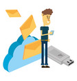 man and technology isometric vector image