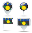Map pins with flag of Guadeloupe vector image vector image