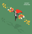 money attraction flat isometric low poly concept vector image vector image