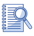 note book with magnifying glass vector image vector image