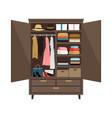 open wooden wardrobe vector image