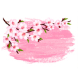 Pink paint sakura branch banner vector image vector image