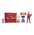postman and post office with parcels on shelves vector image