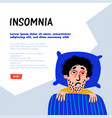 psychology sleep disorder man character with vector image vector image