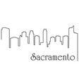 sacramento city one line drawing vector image vector image