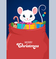 santa mouse chinese new year and merry christmas vector image