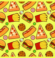 seamless pattern with american fast food vector image vector image