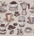 seamless pattern with coffee hand drawn vector image vector image