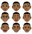 set black boy head with varios expression vector image