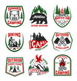 set camping hiking mountains outdoor emblems vector image vector image
