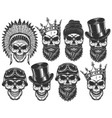 set of different skull characters with different vector image vector image