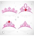 Set openwork pink tiaras with diamonds and faceted vector image vector image