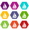 small yacht icon set color hexahedron vector image vector image