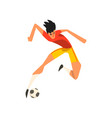 soccer player jumping touch a soccer ball in the vector image vector image