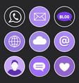 social networking icons set vector image vector image
