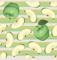 striped seamless pattern green apples vector image vector image