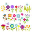summer flowers isolated collection cute vector image