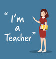 teacher character with book and chalk on blue vector image vector image