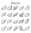 wing icons set colorline style vector image