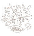 wok asian frying pan concept vector image
