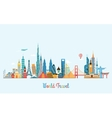 World skyline Travel and tourism background vector image