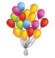 colorful bunch of birthday balloons flying for vector image