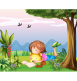 A girl reading at the park vector image vector image