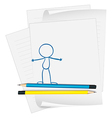 A paper with a drawing of a person standing vector image vector image