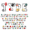 alphabet font template vector image vector image