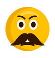 angry emoji with a mustache vector image vector image